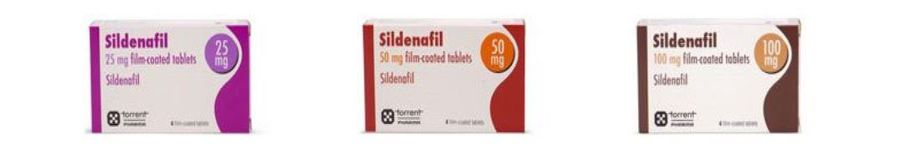 Sildenafil in boxes with 25, 50, and 100mg