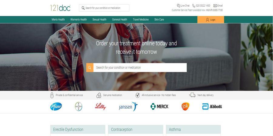 Screenshot of the 121Doc pharmacy homepage.