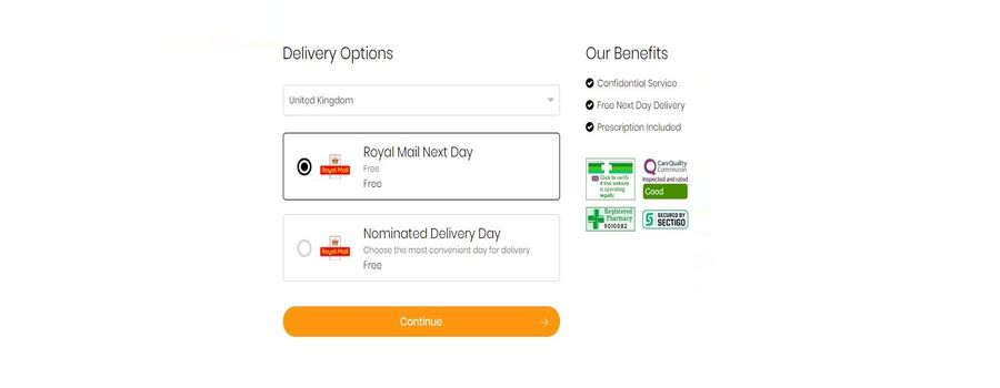 Here you can see what delivery options you have on Health Express.