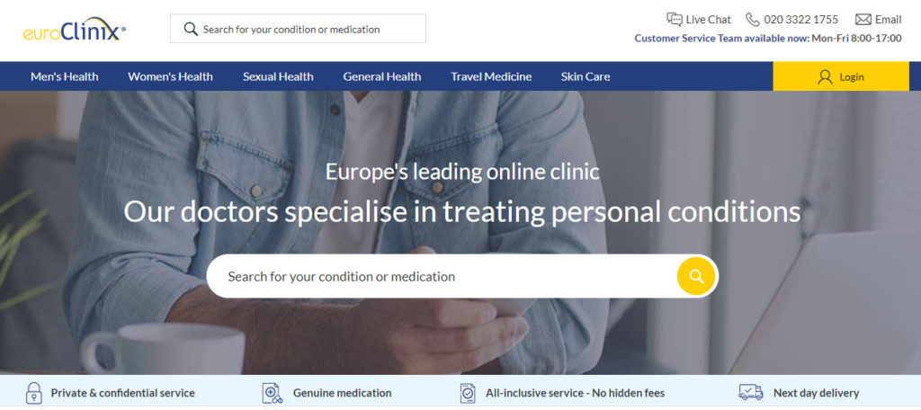 EuroClinix homepage screenshot