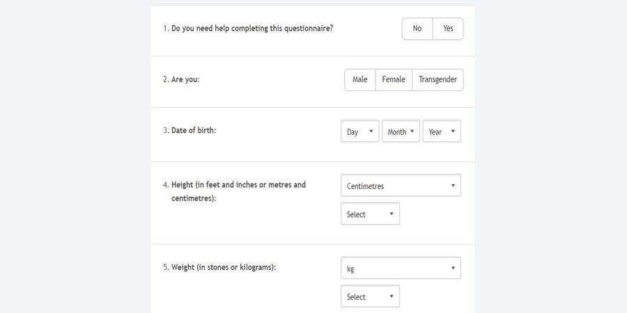 example of assessment questionnaire