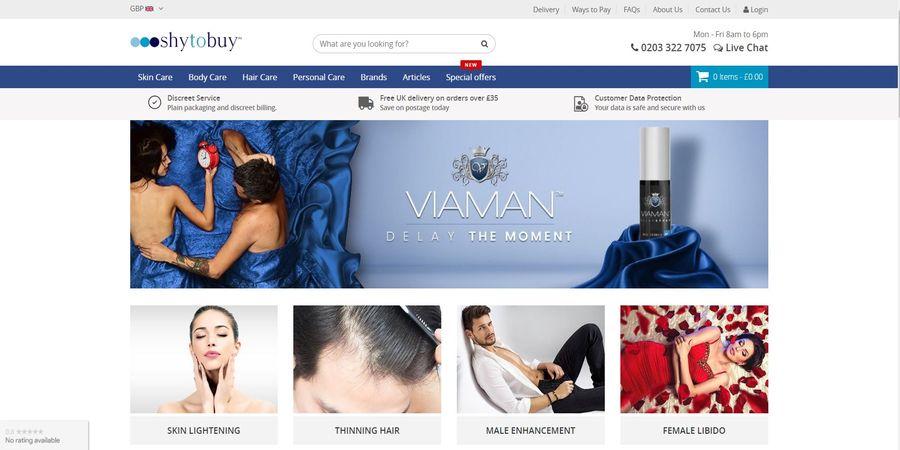 Screenshot of the ShytoBuy homepage for UK customers