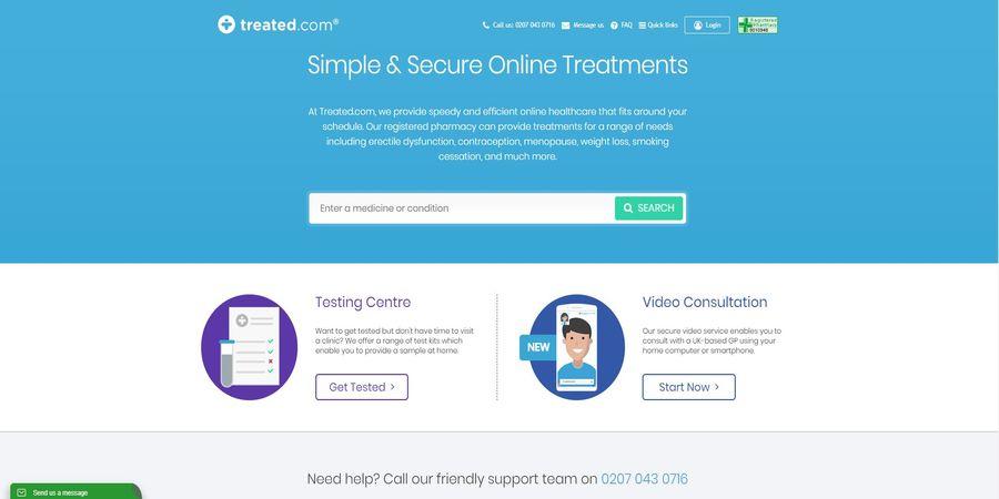 Screenshot of the Treated.com homepage